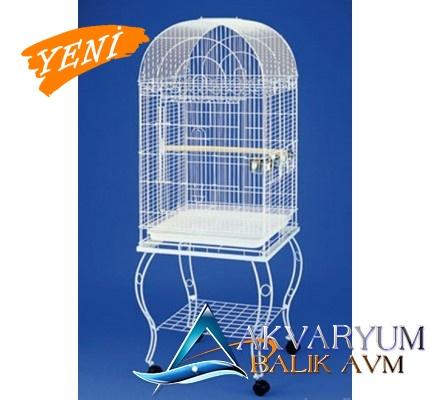 QH Pet Cage Sehpalı Papağan Kafesi Beyaz