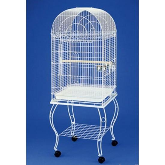 QH Pet Cage Sehpalı Papağan Kafesi Beyaz  Kuş Malzemeleri