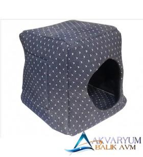 Mavi Puantiyeli Kedi Ve Köpek Yatağı 3 Fonksiyonlu