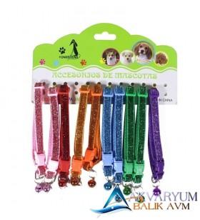 Renkli Zilli Simli Mini Kedi Köpek Boyun Tasması