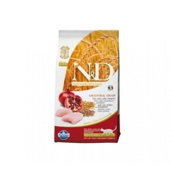 N&D Düşük Tahıllı Tavuklu ve Narlı Kısırlaştırılmış Yetişkin Kedi Maması 1.5 KG