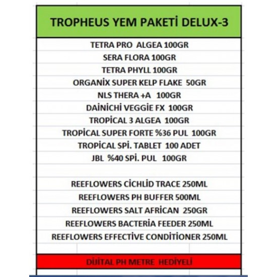 Tropheus Yem Paketi DELUX-3 ÜCRETSİZ KARGO Yem Paketleri
